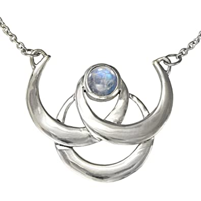 Amazon Sterling Silver Triple Crescent Moon Goddess Necklace