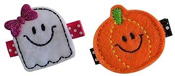 Cute Spooky Ghost with Polka Dot Bow Feltie Hair Clip Embroidered Feltie on Ribbon Lined Alligator Clip Halloween Baby Hair Accessory