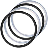 4 Pack Silicone Sealing Rings for Instant Pot, FineGood 2 Colors 5/6qt Size Sweet and Savory Edition Accessory for Pressure Cooker - Black, Clear
