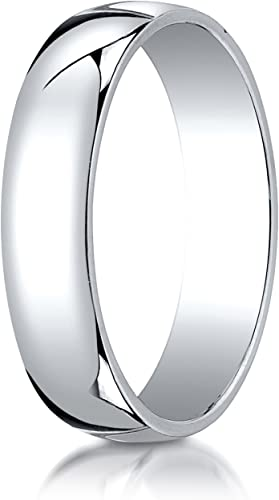 Benchmark 14K White Gold 4mm Low Dome Light Wedding Band Ring Sizes 4-15