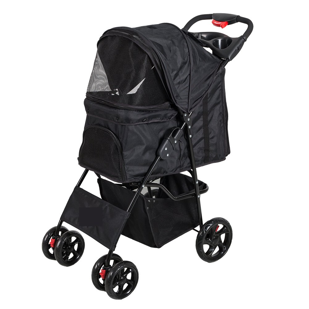 Lucky Tree Pet Stroller Folding Pet Cat Carrier Travel Cart With Four Wheels (black)