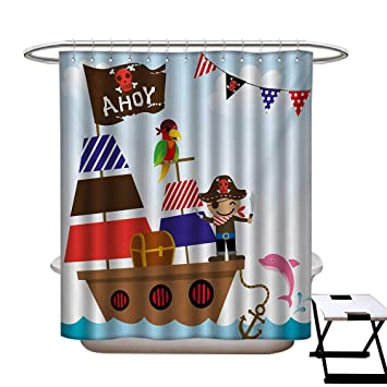 Ahoy Its A Boy Shower Curtains Waterproof Cute Pirate Kids Treasure Chest With Ship On Ocean