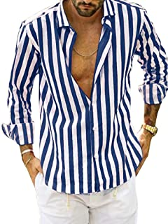 Alion Mens Loose Casual Color Block Long Sleeve Button Down Dress Shirt Tops