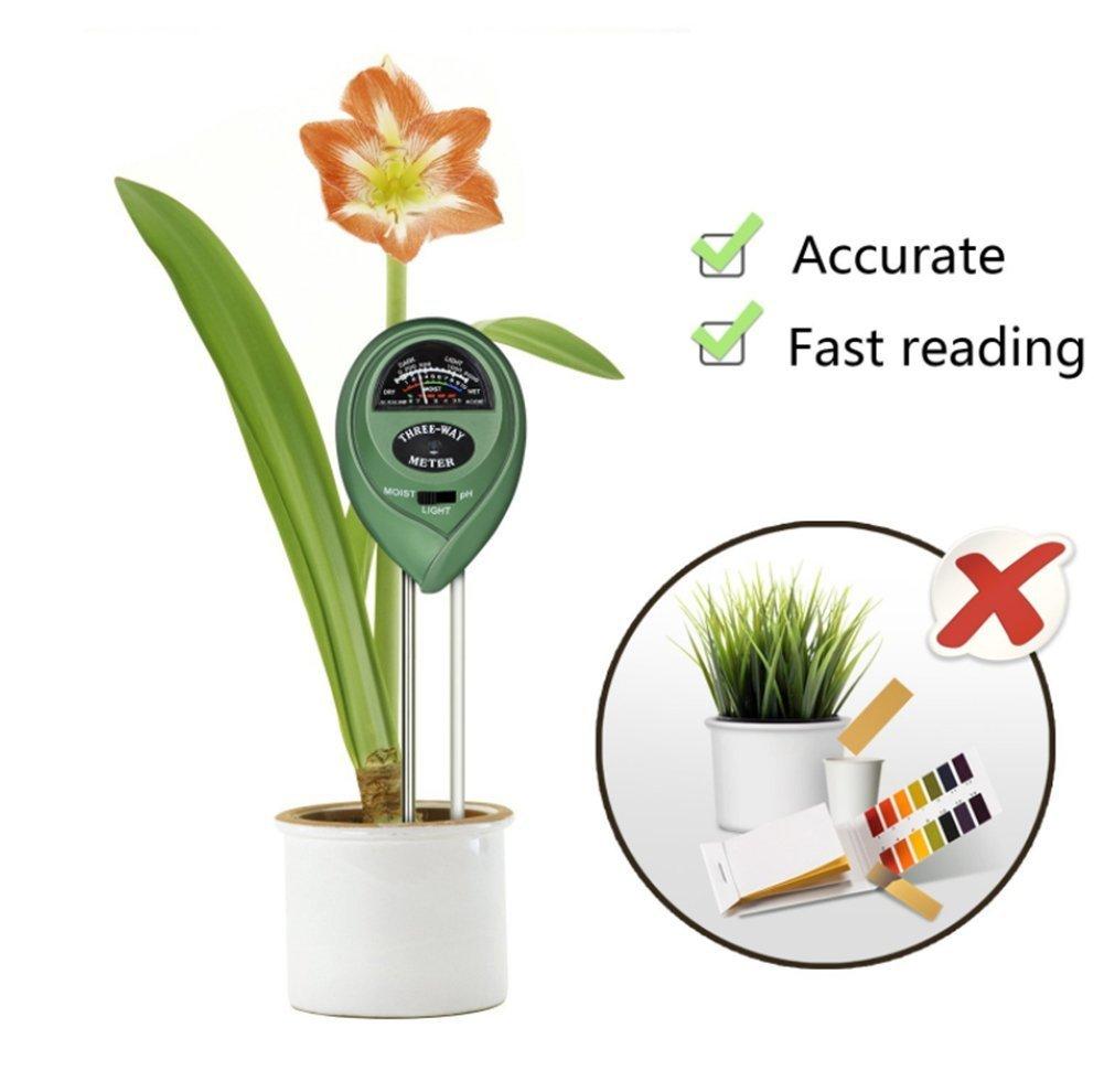 Nicebuty 3-in-1/umidit/à del suolo luce acidit/à e pH tester Plant Soil Great for Garden Farm Lawn indoor outdoor nessuna batteria necessaria
