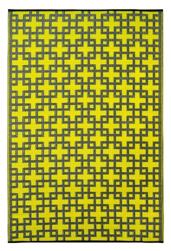 Recycled Outdoor Rugs - Fab Habitat Rheinsberg Recycled Plastic Rug,  Sunny Lime & Charcoal Gray, (4' x 6')