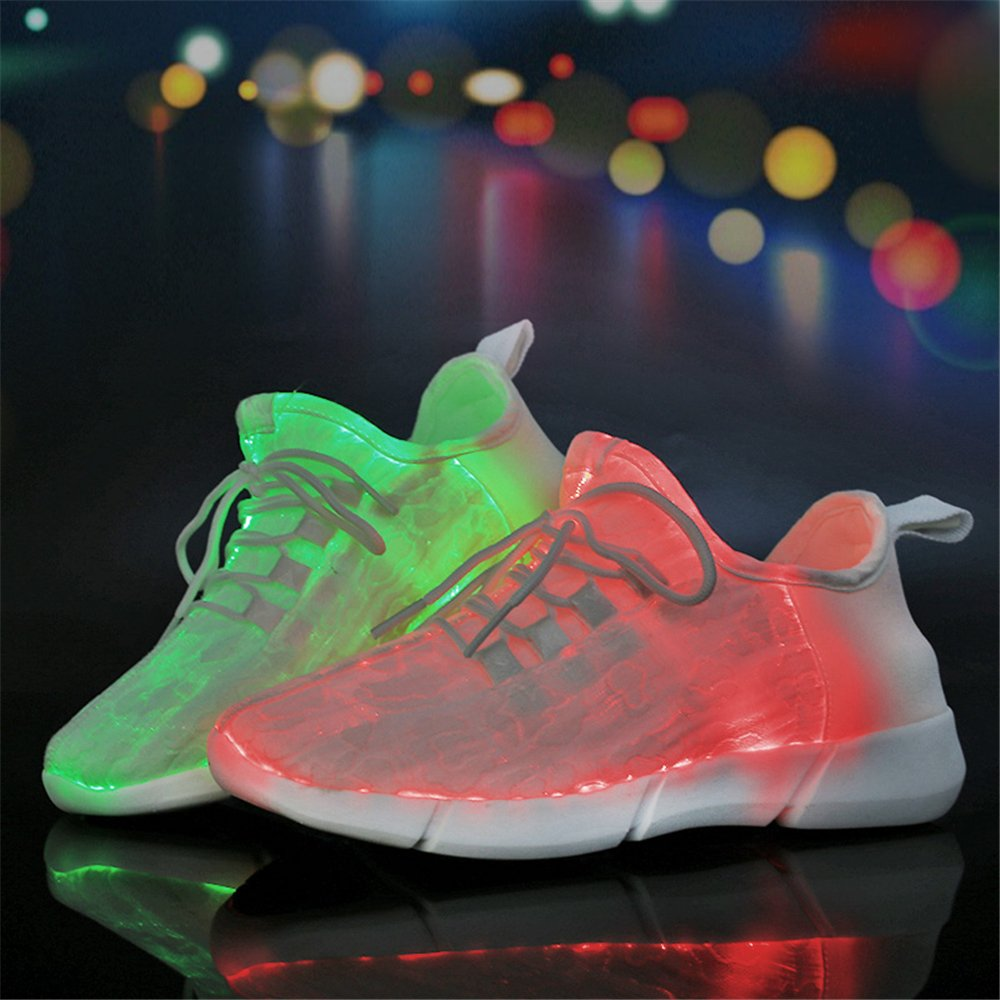 AIRAVATA Men Women Adult LED Light up Sneakers USB Charging Flashing Lightweight Breathable Fashion Walking Shoes B07CQNVLDR Women-CN 36|White