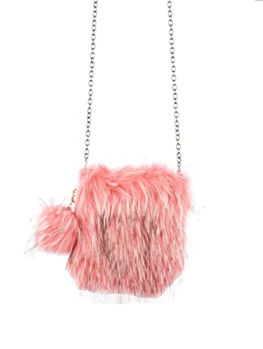 6bb968f00743 Image Unavailable. Image not available for. Color  Pink Faux Fur Crossbody  Shoulder Handbag ...