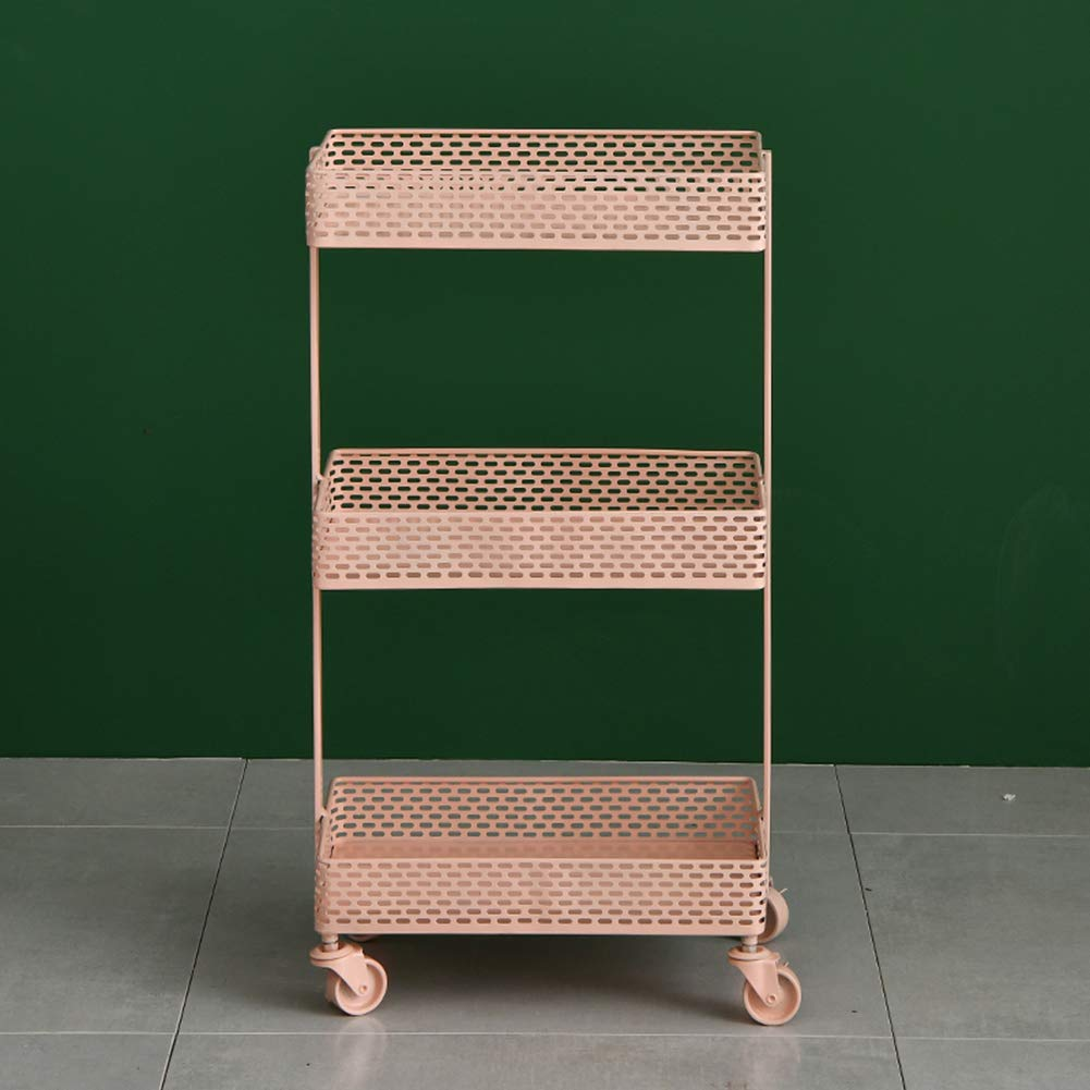 Nordic Luxury Wrought Iron Cart, Gold, Bedroom Bedside Storage Rack, Detachable, with Wheels, Add Space