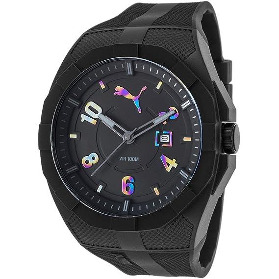 Puma Iconic - Reloj análogico de cuarzo con correa de poliuretano para hombre, color negro/multicolor: Amazon.es: Relojes