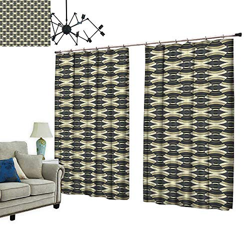 PRUNUS Waterproof Window Curtain Unusual Authentic Ethnic Art Pattern in Fractal Triangle Forms Image Sage Green Grey Sleep Well Blackout Curtain wuth Hook for Bedroom,W120 xL108