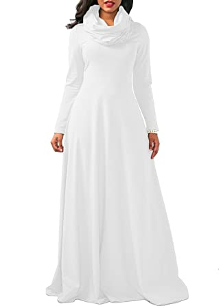 1146a3758f8 Robe Longue Col Roule Femme Style Empire Grande Taille Casual Pull Maxi  Sweat Long sans Capuche