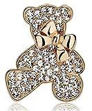 KristLand Classical Cute Teddy Bear Rhinestones Bowknot Brooches Pin Daily Wear Gold Color