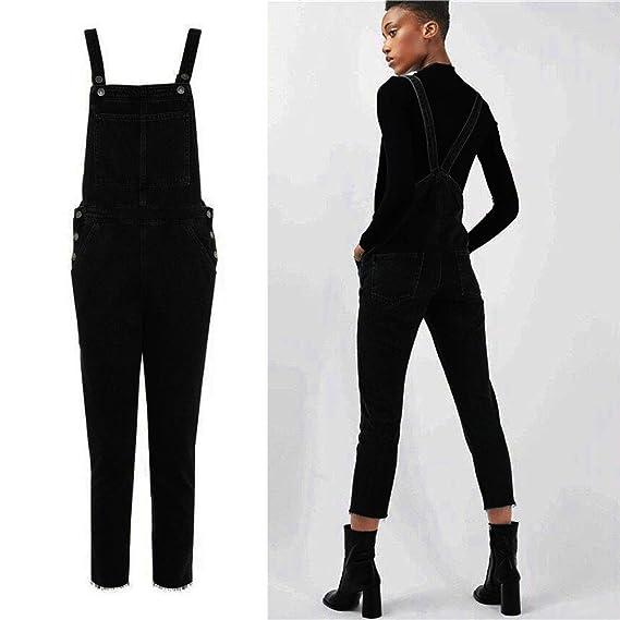 COLORFUL Damen Jumpsuit Overall Onesie,Damen Schwarz Overall Hosen Casual  Jumpsuit Jeans Taschen Hosen  Amazon.de  Bekleidung d6cf72215d