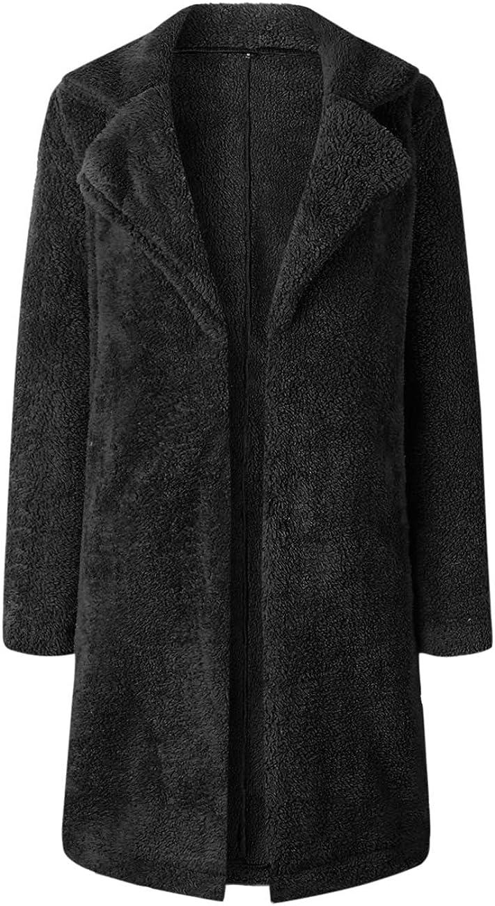 JUNLAI Winter Women Lapel Faux Fur Open Front Coat Fleece Long Jackets with Pockets