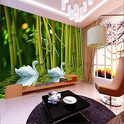 Sproud Large Custom Wallpapers 3d Reliefs Bamboo Swan Lake Leisure