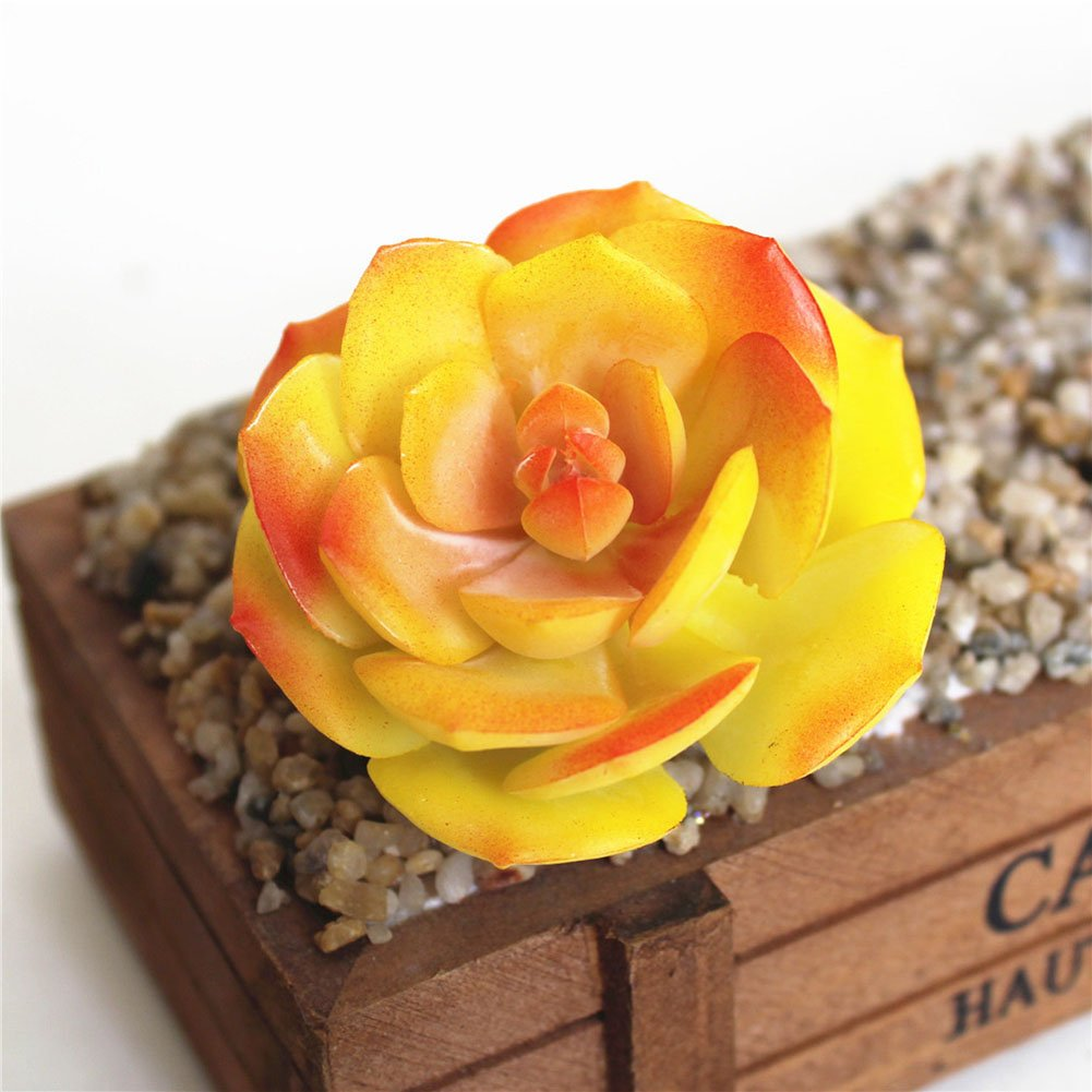 Amazon.com: Artfen Faux Artificial Snow Rose Succulent Cactus 5 Pack ...