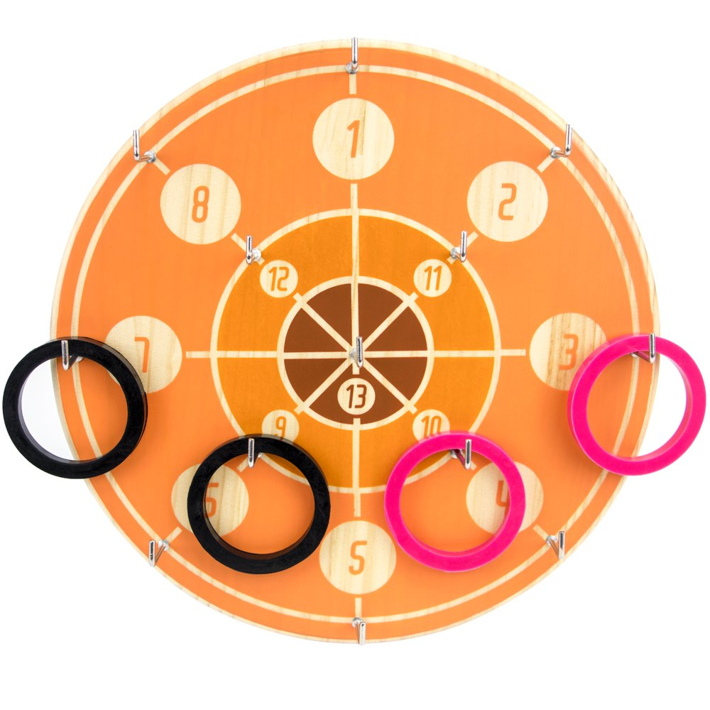 Deluxe Hookey Ring Toss Game Set - Includes Wooden Game Board, Hooks and 12 Rubber Rings!