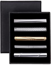 HISDERN 5pcs Tie Bar Clip, Tie Tack Pins Tie Clips for Men Silver Gold Black Necktie Bar Pinch Clip Set 2.25 Inch Metal Clasps Business Professional Fashion Gift