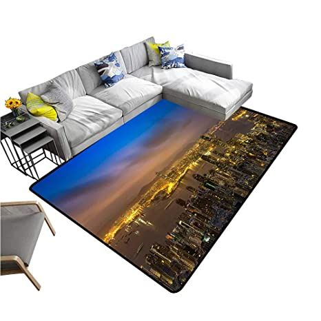 Amazon.com: Contemporary Synthetic Rug Night Scene of ...