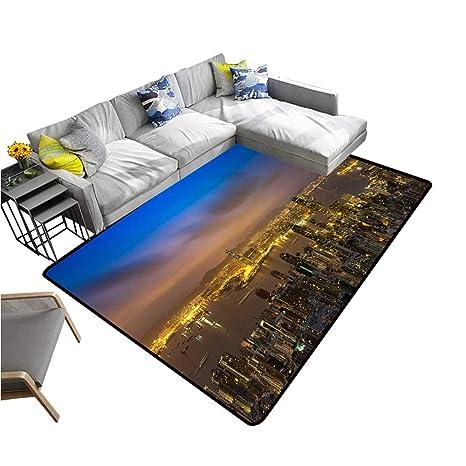 Amazon.com: Contemporary Synthetic Rug Night Scene of ...