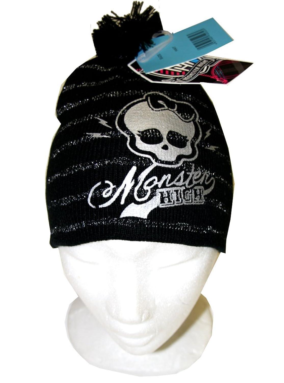 MONSTER HIGH Strickmütze - Beanie - mit Lurexstreifen und silberfarbenem Logo - schwarz