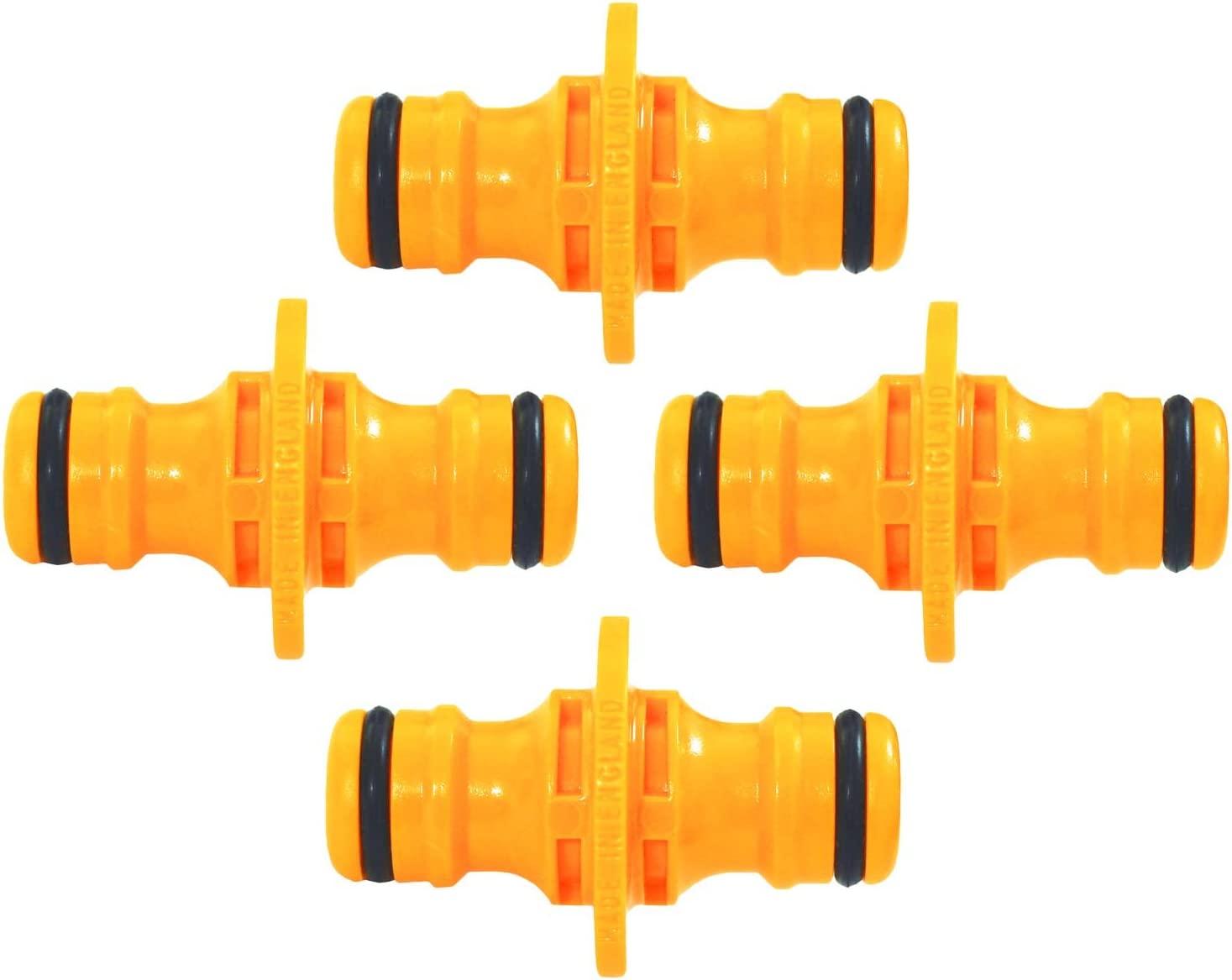 4 X MALE MALE DOUBLE HOSE CONNECTOR WILL FIT HOZELOCK