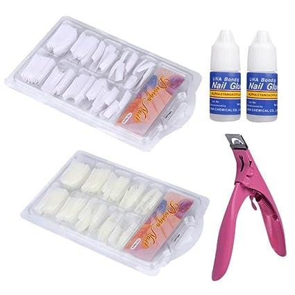 Mumustar - Puntas de uñas postizas con manicura francesa para extensiones de gel,