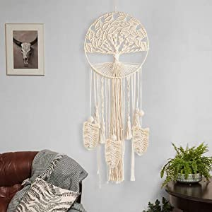 """party club Macrame Dream Catcher with Ring Boho Large Handmade Tree of Life Wall Hanging Wedding Party Dreamcatcher Home Baby Nursery Decorations Birthday Gifts (37.8"""" Long, 11.81"""" Dia)"""