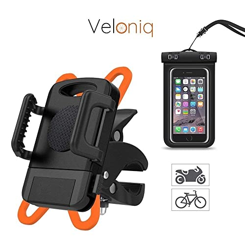 Veloniq®   Universal Anti Shake Bicycle Mount Phone Holder and Waterproof Phone Case Kit   Bike Cradle Clamp for iOS Android Smartphones, GPS and Other Devices   Rotates 360 Degrees   Rubber Strap   Watertight Sealed   eBook Instructions Included