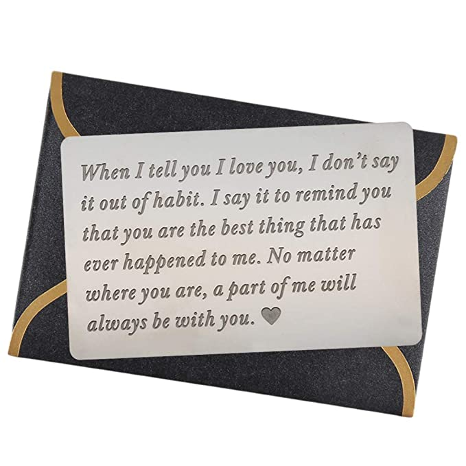Engraved Wallet Cards For Men Inserts Unique Birthday Gifts Anniversary Ideas Husband