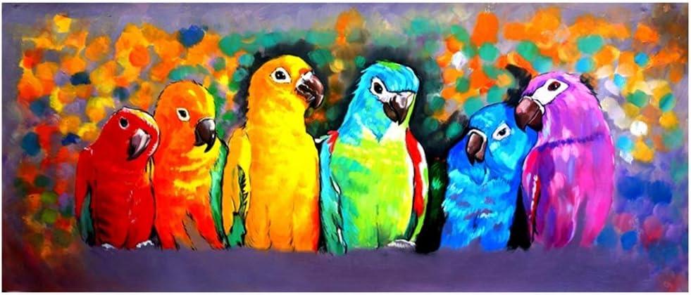 Legendarte, Pintura Al Óleo sobre Lienzo - Loros Multicolores, cm. 30x90