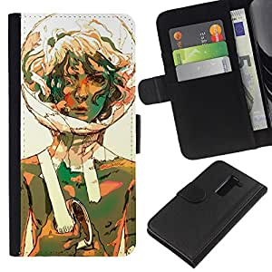EJOY---La carpeta del tirón la caja de cuero de alta calidad de la PU Caso protector / LG G2 D800 / --Burbuja Retrato Traje espacial Girl Art Curly