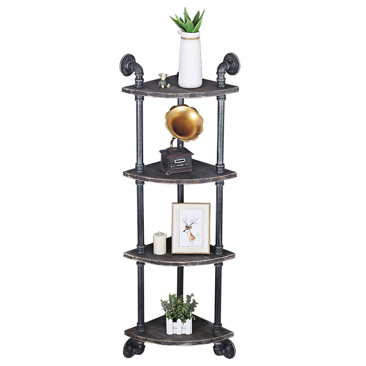 FOF FRIEND OF FAMILY 4 Tier Industrial Retro Wall Mounted Corner Pipe Shelf, Pipe Wooden Bookshelf and Bookcases Furniture