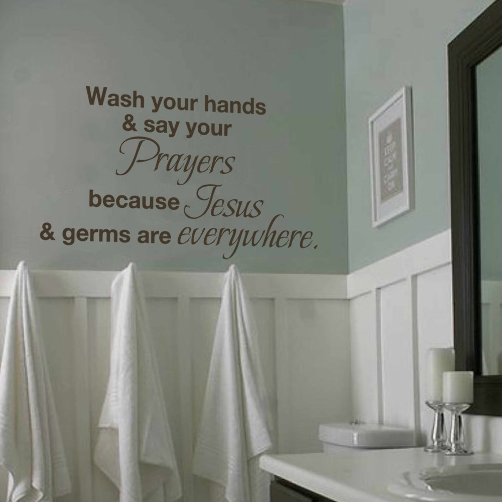 MairGwall Bathroom Sink Hand Wash Wall Decal - Wash your hands and say your prayers Juses and Germs are Everywhere Vinyl Sticker (White, Large)
