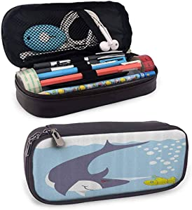 Yellow Submarine Pen Pencil Stationery Pouch Bag Case Shark with Vessel in Ocean Bubbles Under The Sea Theme Animals Cartoon for Kid, Teen Student, Boy, Girl or Adult for Men, Women Blue Gray Yellow