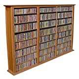 Venture Horizon Triple 50-Inch CD DVD Wall Rack Media Storage - Oak