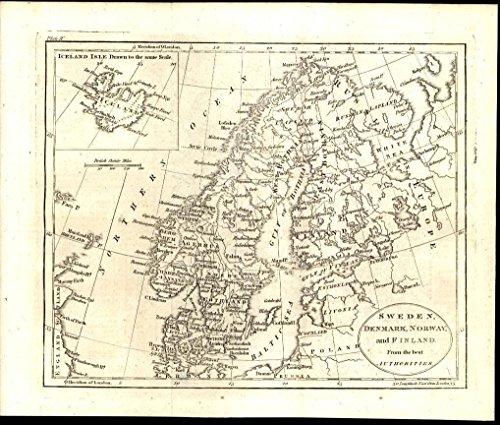 Sweden Antique (Sweden Norway Demark Iceland 1805 antique engraved map)