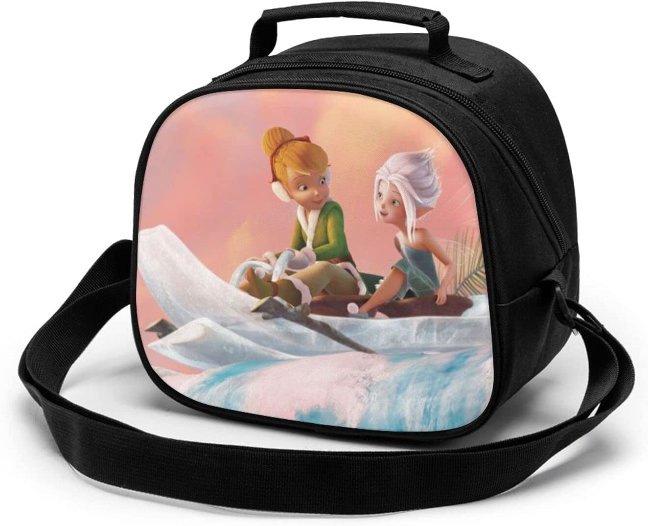 Tinker Bell Secret of The Wings Round Children's Meal Bag Reusable Food Storage,Insulated Bag,Fresh-Keeping Bag,Tote Bag,Water Resistant Thermal Lunch Bags
