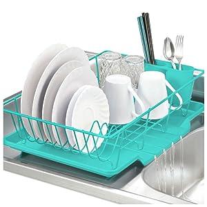 Home Basics 3-Piece Kitchen Sink Dish Drainer Set Kitchen Storage Organization Racks Holders (TURQUOISE)