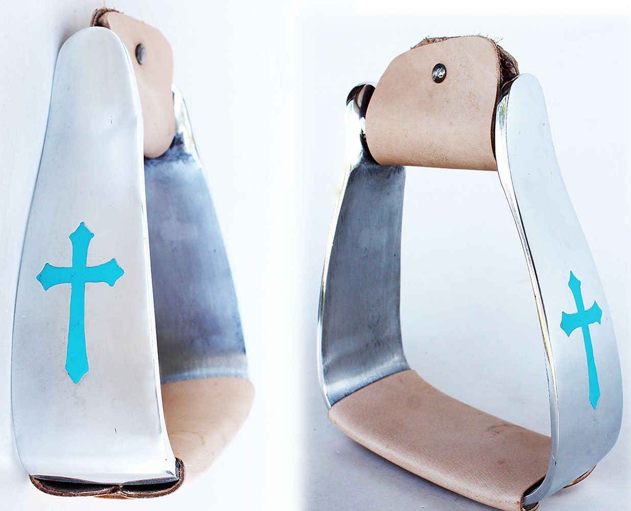 PRORIDER HorseサドルターコイズCross Angled SlantedアルミStirrups 5135 VR  Turquoise Cross with Tan Leather B07F199CZ4