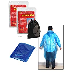 2 Pack Adult Ponchos for Camping, Sporting Events