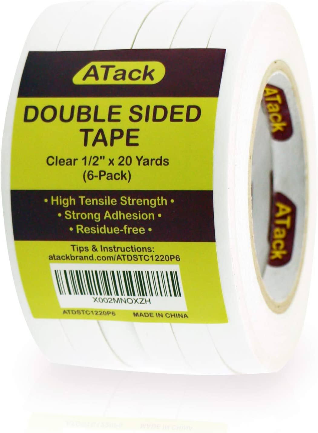 ATack Double Sided Tape, Clear, 1/2-Inch x 20-Yards (6-Pack) Wall Safe Transparent Heavy-Duty Double Sides Self Sticky Wall Fabric Tape for Wood Templates, Furniture, Leather, Curtains and Craft