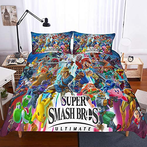 Bulk 3 Piece Duvet Cover Set with Zipper Closure - 3D Super Mario Games Pattern Hypoallergenic Microfiber Bedding Set Child's Bedroom,Twin
