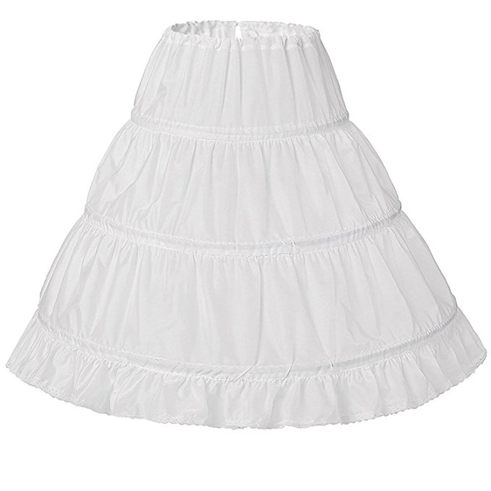 NANWUJI Girls' 3 Hoops Petticoat Full Slip Flower Girl Crinoline Skirt White