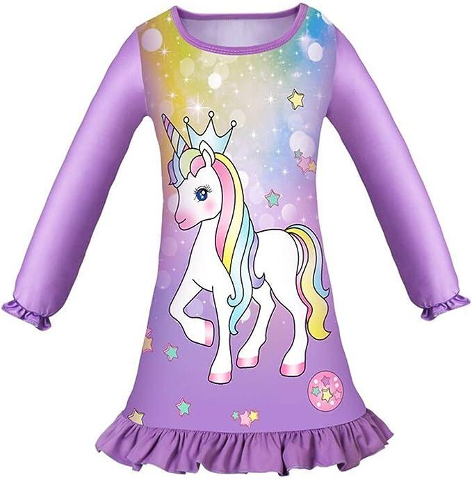 Camisón Unicornio Primavera y Otoño Vestido Unicornio Niña Ropa de ...