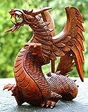 Handmade Wooden Dragon Handcrafted Art Statue Sculpture Figurine Home Decor (12'' Tall)