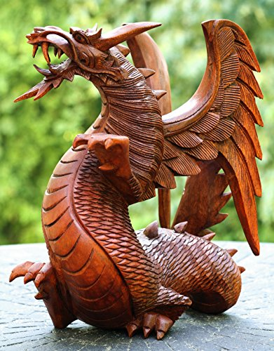 Handmade Wooden Dragon Handcrafted Art Statue Sculpture Figurine Home Decor (12'' Tall) by G6 Collection