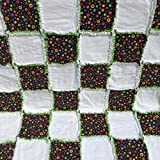 Baby rag quilt bursting with colorful circles