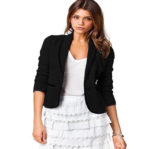 Tongshi Mujeres Botón Mujeres Individual Escudo Blazer corto cobertura Collar Jacket