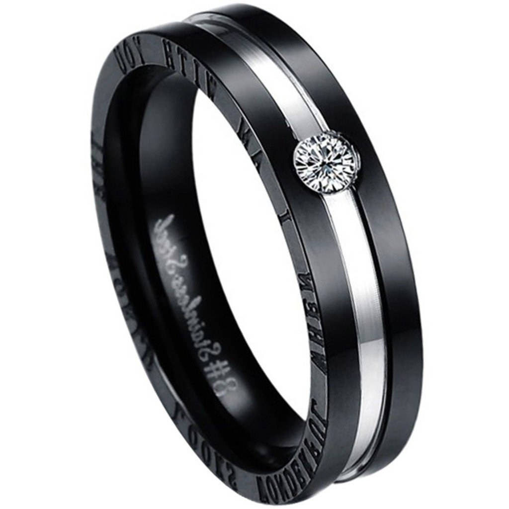 Aooaz Stainless Steel Unisexs Wedding Ring Silver Black Gold Jewelry